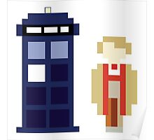 Pixel 5th Doctor and TARDIS Poster