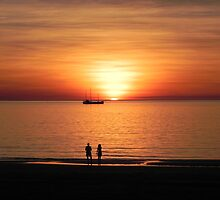 Tropical Sunset with Boat - Darwin by Juli Davine