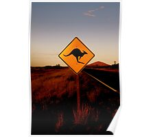 Kangaroo Sign Poster