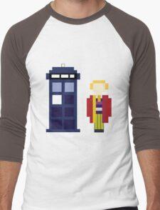 Pixel 6th Doctor and TARDIS Men's Baseball ¾ T-Shirt