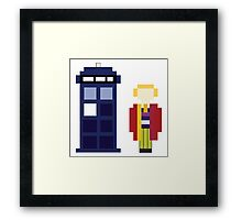 Pixel 6th Doctor and TARDIS Framed Print