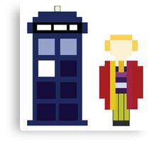 Pixel 6th Doctor and TARDIS Canvas Print