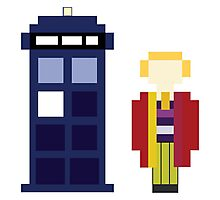 Pixel 6th Doctor and TARDIS Photographic Print