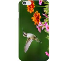 Hummingbird Flying with Colorful Flowers iPhone Case/Skin