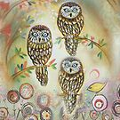 Misty forest owls by sue mochrie