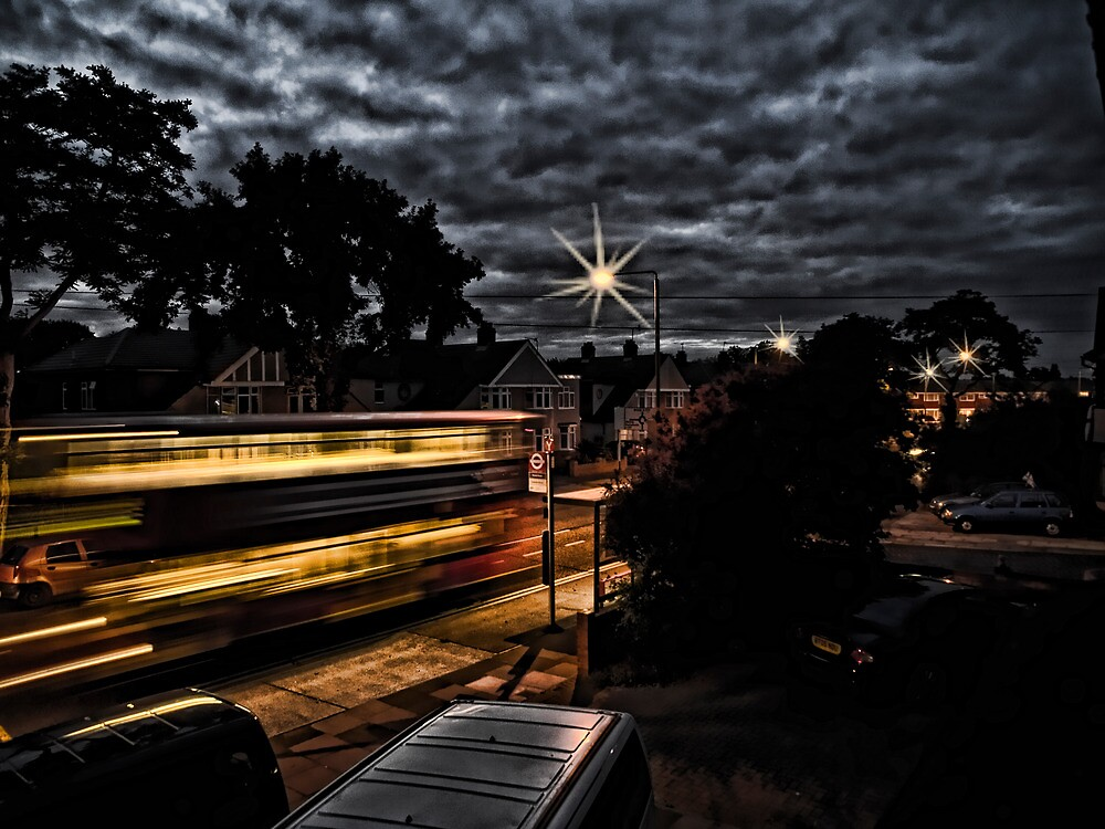 Bus at Night in London by gillbanks1984