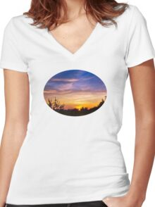 Sunset Landscape Art Women's Fitted V-Neck T-Shirt