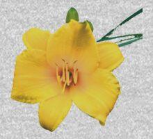 Yellow Daylily Flower Art One Piece - Short Sleeve