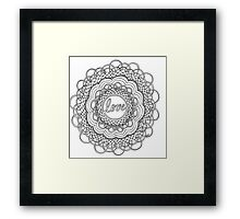 Zentangle Mandala Love Black & White Framed Print