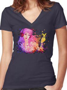 Music girl Women's Fitted V-Neck T-Shirt