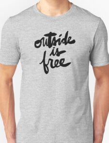 Outside Is Free : Black Lettering T-Shirt