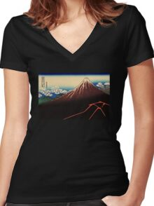 'Lightning Below the Summit' by Katsushika Hokusai (Reproduction) Women's Fitted V-Neck T-Shirt