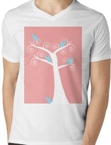 5  blue birds in a tree (pink background) T-Shirt