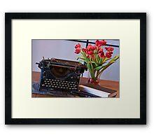 Novelist At Work - Painted Framed Print