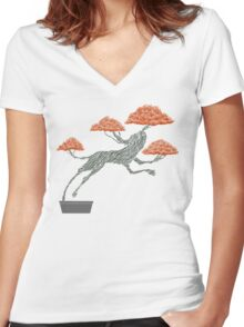 Bonsai Lion Escapes Women's Fitted V-Neck T-Shirt