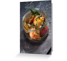 Summery fruit salad with mint and a sesame butterscotch - 2 Greeting Card