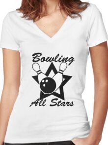Bowling All Stars Women's Fitted V-Neck T-Shirt