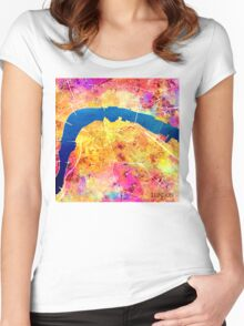 London city maps colored Women's Fitted Scoop T-Shirt