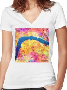 London city maps colored Women's Fitted V-Neck T-Shirt