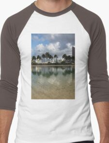 Tropical Vacation - Swaying palms and Crystal Clear Water Men's Baseball ¾ T-Shirt