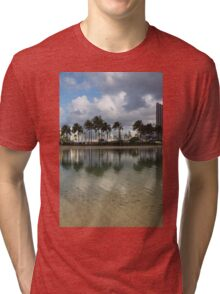 Tropical Vacation - Swaying palms and Crystal Clear Water Tri-blend T-Shirt