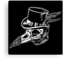 Crow Skull Top Hat Canvas Print