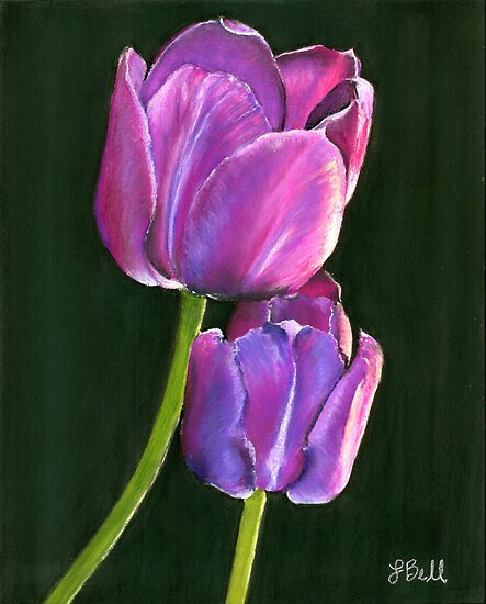 """Passion,"" Pastel on Ampersand Pastelbord, 8"" x 10""  - Bright, Purple Tulips by Laura Bell"