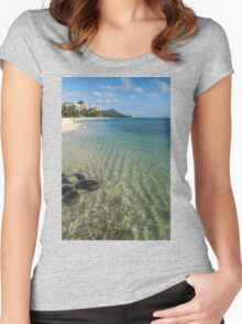 Waikiki Beach Sea and Sunshine Women's Fitted Scoop T-Shirt