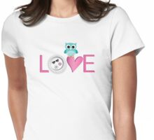 Love Owl with charm Womens Fitted T-Shirt
