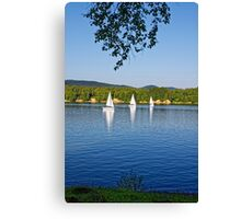 Three white sailing boat on Solina Lake Canvas Print
