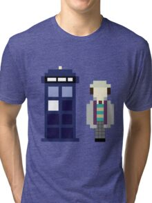 Pixel 7th Doctor and TARDIS Tri-blend T-Shirt