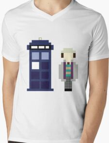 Pixel 7th Doctor and TARDIS Mens V-Neck T-Shirt