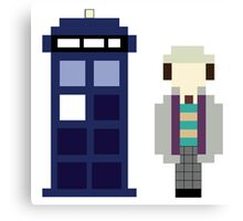 Pixel 7th Doctor and TARDIS Canvas Print