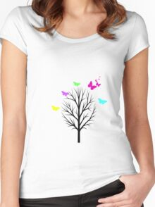 Butterfly Colour Burst Women's Fitted Scoop T-Shirt