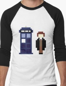 Pixel 8th Doctor and TARDIS Men's Baseball ¾ T-Shirt