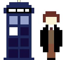 Pixel 8th Doctor and TARDIS by ObscureM
