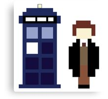 Pixel 8th Doctor and TARDIS Canvas Print