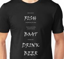 Fish, boat, beer Unisex T-Shirt