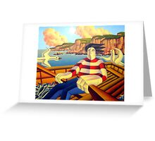Fisherman at sea with gulls and fish in boat Greeting Card