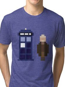 Pixel War Doctor and TARDIS Tri-blend T-Shirt