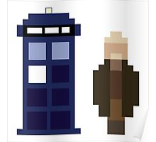 Pixel War Doctor and TARDIS Poster