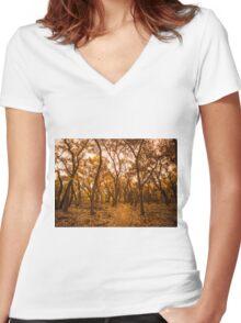 Golden Fall Women's Fitted V-Neck T-Shirt