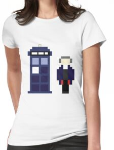 Pixel 12th Doctor and TARDIS Womens Fitted T-Shirt