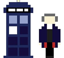 Pixel 12th Doctor and TARDIS by ObscureM