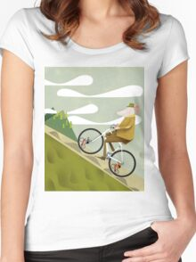 Hamster Cyclist Road Bike Poster Women's Fitted Scoop T-Shirt