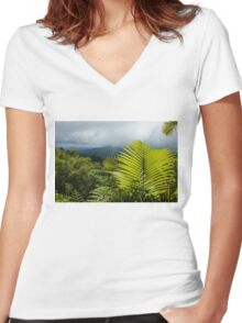 Tropical Rainforest - Jungle Green and Rain Clouds Women's Fitted V-Neck T-Shirt