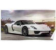 White Porsche 918 Spyder Poster