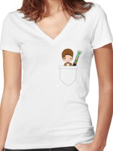 Pocket Who! (Eleventh Doctor) Women's Fitted V-Neck T-Shirt