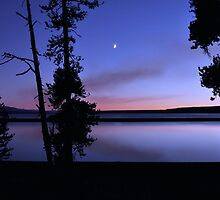 Yellowstone Lake Dusk Reflections  by Stephen Vecchiotti