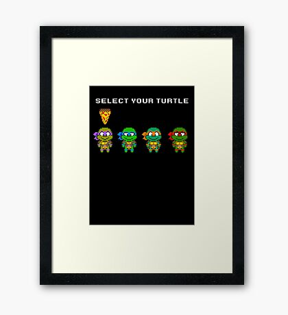 Select Your Turtle (Donatello) - TMNT Pixel Art Framed Print